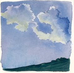 Watercolor Landscape Sketch of Clouds, Small Abstract Cloud Artwork by ElissaSueWatercolors on Etsy