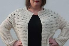Crochet Cardigan Pattern Free Women, Tunisian Crochet Patterns, Crochet Yoke, Crochet Shirt, Free Crochet, Double Crochet, Crochet Stitches, Crochet Sweaters, Crochet Ideas