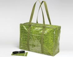 Fun in the Sun Tote Set with Crocodile Skin graphics includes a fully lined large vinyl tote bag (7.5 x 17.25 x 12.5 inches) with zipper closure and outside pocket for the included 3.5 x 7 inch Sunglass case. Wipe clean. All our vinyl-related products are non-toxic and lead-free according to U.S., European, and Canadian standards.