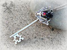 Halloween Bat Key Necklace / Bat Necklace / by ArtbyStarlaMoore