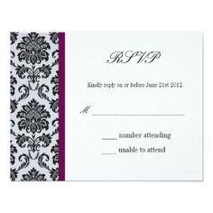 Damask Burgundy Wedding RSVP Card
