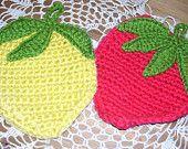 Vintage Handmade Crochet Lemon and Strawberry Pot Holders Trivets FREE SHIPPING