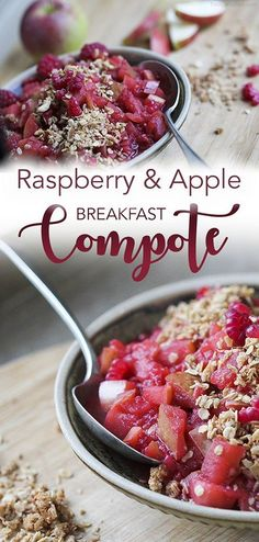 Raspberry & Apple Breakfast Compote with a hint of ginger and coconut sugar. #vegan #glutenfree