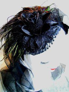 black veil peacock queen black wedding veil by jasminthestrange, $159.00
