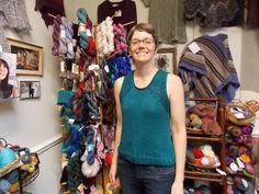 """Mara in her """"Pennekamp"""" tank, knit in Berroco Touche."""