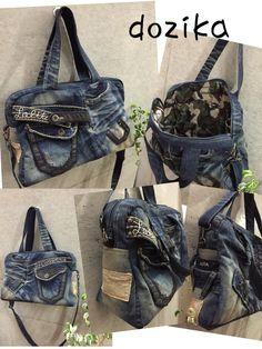 個性的なデニムのリメイク♡ 持ち込みデニム♪履かなくなったけど、捨てられないデニムは、リメイクすると使えるカッコイイバッグに変身します♪ dozika Diy Jeans, Love Jeans, Fashion Handbags, Purses And Handbags, Jean Diy, Handmade Fabric Bags, Jean Purses, Denim Purse, Boho Bags