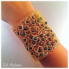 cuff bracelet, wire embroidery Jewelry