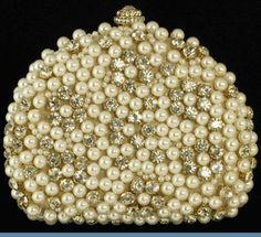 Gold Evening Handbag Accented with Faux Pearls & Rhinestones with Goldtone Trim & Shoulder Length Chain Strap ( 5 X 5.5 in )