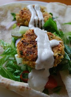 Falafel with Tahini Sauce.  The sunflower oil really worked well on this!