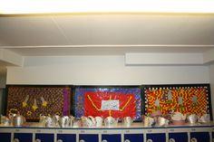 Year 3 Roman mosaics (table mosaics) corridor display above lockers - Roman Mosaics, History Classroom, Roman History, Classroom Displays, Corridor, Romans, Lockers, School, Table