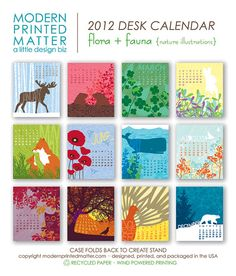 2012 Flora & Fauna Desk Calendar by ModernPrintedMatter on Etsy, $16.00