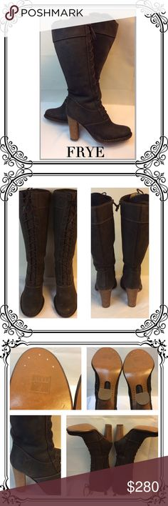 FRYE Tall Boots NEVER WORN‼️ BOHO vintage look // Frye Villager Lace Mid Calf boot // Never Worn // Side zip for easy removal // Distressed Suede with Wood Stacked Heels // Prairie Coachella Hippie Gypsy Boho Concert Style beauties. Box no included. Size 7 M // Dark mocha brown Frye Shoes Lace Up Boots