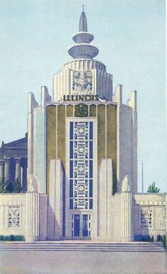 POSTCARD - CHICAGO - CENTURY OF PROGRESS WORLD'S FAIR - ILLINOIS WELCOME BUILDING - NOTE PART OF SOLDIERS FIELD BEHIND - 1933