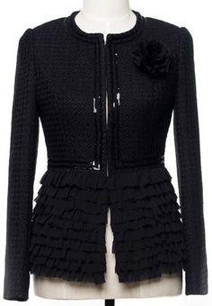 Black Embellished Ruffle-Hem Jacket