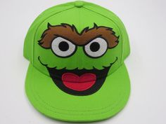 Sesame Street Oscar the Grouch Green Youth Childrens Size Snapback Hat Cap  #Bioworld #BaseballCap  #Sesame Street Oscar the Grouch
