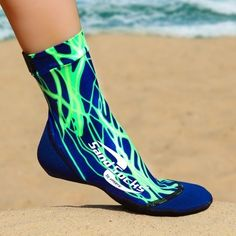 Green Lightning Sand Socks by Vincere. Sand Socks protect your feet.