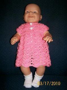 Free Crochet Patterns for Baby Dresses : Easy crochet Ripple Chevron Baby Dress Pattern FREE Crochet Baby Dress Free Pattern, Crochet Doll Dress, Crochet Doll Clothes, Doll Clothes Patterns, Clothing Patterns, Crochet Patterns, Crochet Dresses, Crochet Ideas, Crochet Ripple