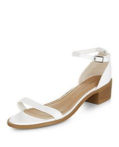 White Ankle Strap Low Block Heel Sandals | New Look