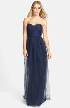 Amsale Draped Tulle Gown available at #Nordstrom Kevin really wants Navy. . . perhaps with this bridesmaid dress