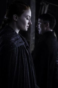 Sophie Turner and Aidan Gillen as Lady Sansa Stark and Lord Petyr 'Littlefinger' Baelish in Game of Thrones.