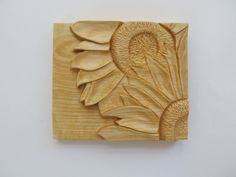 Reserved for Thena, Sunflower Wood Carving, Hand Carved by NorthWindCarvings on Etsy