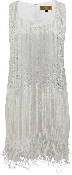 d57860f84cc Nicole Miller - White Scoop Neck Flapper Dress - Lyst