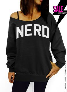 "Use coupon code ""pinterest"" Nerd - Black Slouchy Oversized Sweatshirt by DentzDenim"
