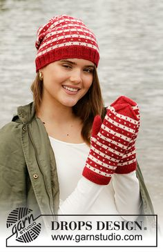 Candy Cane Lane Set - Knitted hat and mittens with Nordic pattern in DROPS Karisma. Drops Design, Mittens Pattern, Knit Mittens, Knitted Hats, Drops Kid Silk, Drops Baby, Knitting Patterns Free, Free Knitting, Free Crochet