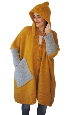 NEW Plus Size Over Size Yellow Mohair Overcoat Poncho от afra
