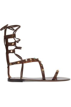 Valentino - Rockstud Embellished Leather Sandals - Chocolate - IT40.5