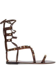 Valentino - Rockstud Embellished Leather Sandals - Chocolate - IT40.5