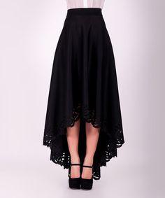 Look at this #zulilyfind! Black Lace-Trim Hi-Low Maxi Skirt #zulilyfinds