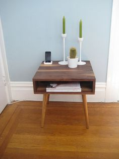 Solid Walnut Midcentury Side Table 22' deep by jeremiahcollection, $400.00