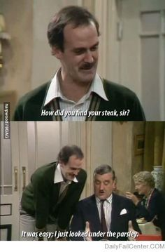 Fawlty Towers- Also the guy eating is Donna Nobles Grandpa, Wilfred… Fawlty Towers, Monty Python, Funniest Pictures Ever, Funny Photos, British Comedy, British Humour, British Sitcoms, English Comedy, British Memes