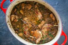 Rabbit Stew with Mushrooms ~ Rabbit stew with fresh and dried mushrooms, parsnips, garlic, shallots, and sherry. ~ SimplyRecipes.com