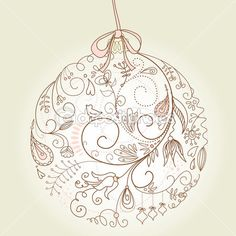 Illustration of Beautiful Christmas ball illustration. Christmas Card vector art, clipart and stock vectors. Christmas Rock, Christmas Design, Christmas Balls, Christmas Ornaments, Zentangle Drawings, Doodles Zentangles, Zentangle Patterns, Xmas Drawing, Christmas Drawing