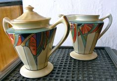 Extremely rare Royal Rochester modernistic coffee service cream & sugar