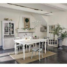 Esstisch aus Holz mit Auszug, B 160cm, weiß Romance | Maisons du Monde