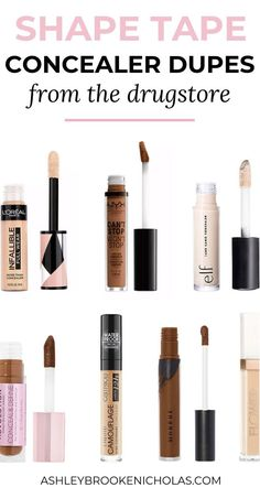 Looking for a concealer that covers everything? I've been on the hunt for the best full coverage concealers from drugstore & today I'm sharing the best of the best - including the best Tarte Shape Tape concealer dupes! Full Coverage Drugstore Concealer, Shape Tape Concealer Dupe, Tarte Shape Tape Dupe, Drugstore Makeup Dupes, Beauty Dupes, Elf Dupes, Eyeshadow Dupes, Lipstick Dupes, Diy Beauty