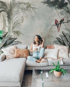 Tree Wallpaper Soft Forest Wall Mural Tropical Jungle Wall Print Exotic Home Decor Living Room Tree Wallpaper Mural, Forest Wallpaper, Wallpaper Size, Living Room Wallpaper, Tree Wall Murals, Leaves Wallpaper, Cheap Wallpaper, Exotic Homes, Tropical Wallpaper