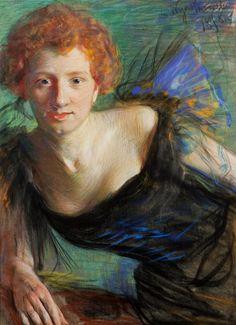 Pastel portrait of actress Irena Solska by Leon Wyczółkowski, 1898 (PD-art/70), Muzeum Narodowe w Krakowie (MNK)