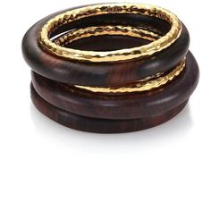 Nest Ebony Wood Bangle Set (370 AUD) ❤ liked on Polyvore featuring jewelry, bracelets, apparel & accessories, ebony wood, hinged bangle, wood jewelry, hinged bracelet, bangle bracelet and bracelets bangle
