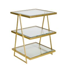 Pair of These as Nightstands, if having open shelves is OK? Jarmon Gold Leafed Square Side Table