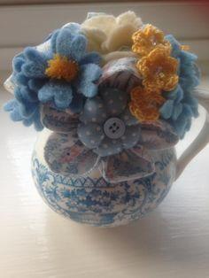 vintage cream jug with felt, crochet and fabric flowers