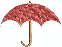 Digital Embroidery Design  Red Umbrella by EmbroideryDesignsBRN