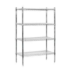 "Salsbury Industries Wire Stationary 4 Shelf Shelving Unit Starter Finish: Black, Size: 74"" H x 36"" W x 18"" D"