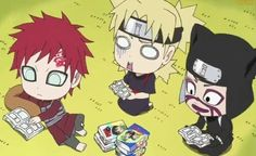 Sand Siblings, Gaara, Temari, Kankuro, chibi, reading manga, funny; Rock Lee and his Ninja Pals