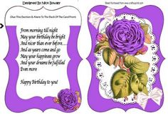 Pretty purple roses on lace bracket card with verse on Craftsuprint - Add To Basket!