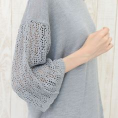 no jean 変わり織袖切替えプルオーバー Tシャツ レース 夏 春 レディース 婦人 トップス 秋 秋冬 5 Angora, Knitting Wool, How To Purl Knit, Work Tops, Knitting Designs, Sweater Fashion, Crochet Clothes, Cardigans For Women, Lana