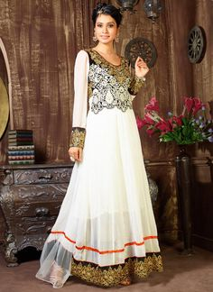 White Georgette Floor Length Anarkali Suit
